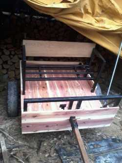 Cedar cart & Red wagon